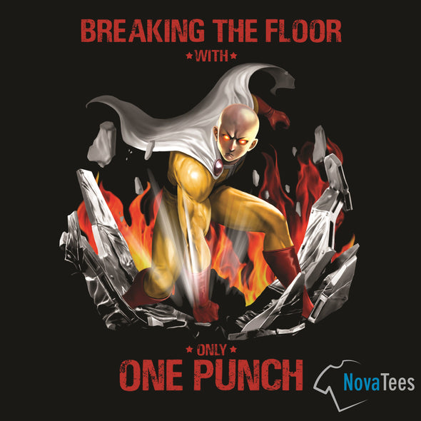 Original art in the likeness of Saitama from One Punch Man punching and breaking the floor with a black background