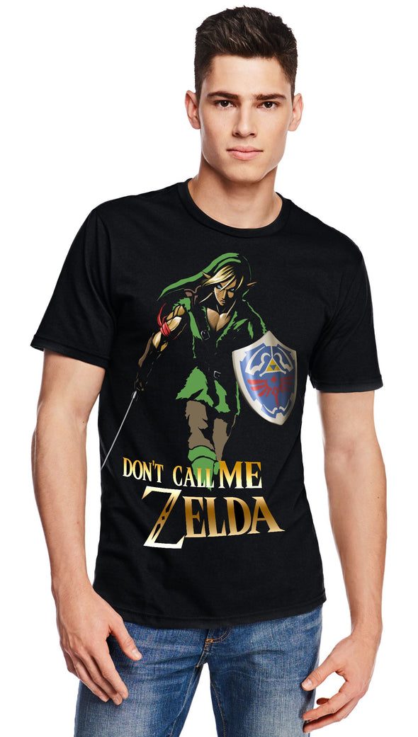 A man wearing a black t-shirt with a image in the likeness of Link from Zelda