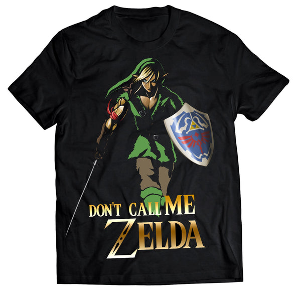 A black t-shirt with an image in the likeness of Link from Zelda