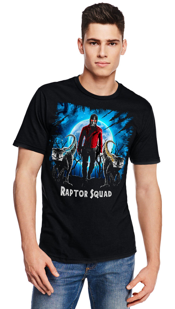 A man wearing a black t-shirt with a image in the likeness of Star-Lord from Marvel with two raptors in front of him