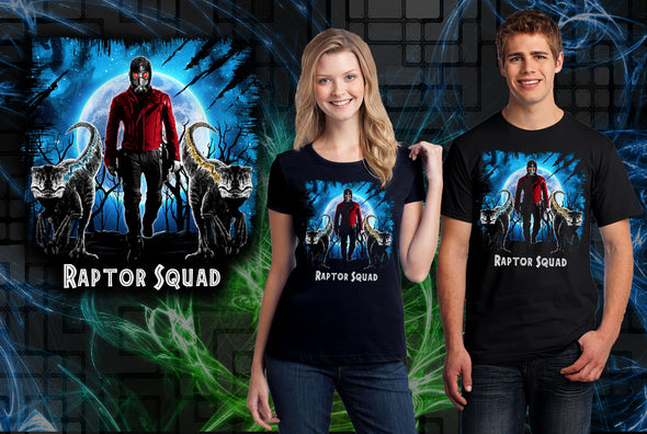 A woman and man wearing a black t-shirt with art inspired by Star-Lord from Marvel with two raptors in front of him