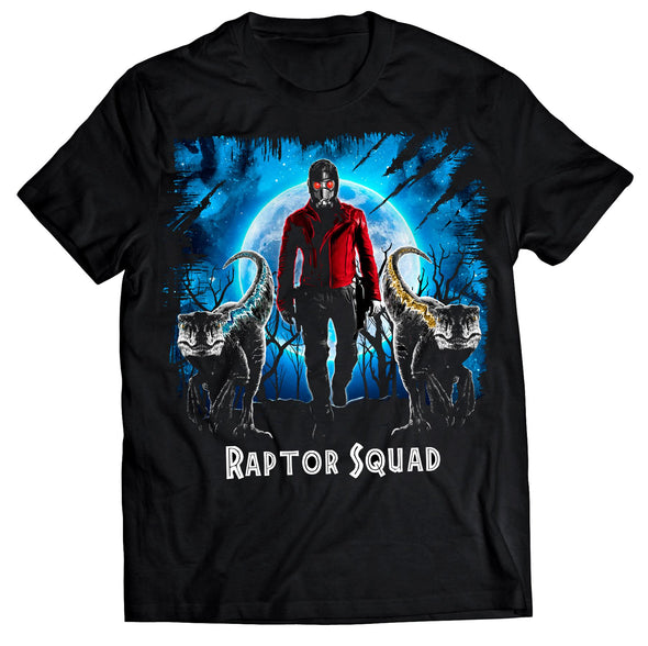 A black t-shirt with an image in the likeness of Star-Lord from Marvel with two raptors in front of him