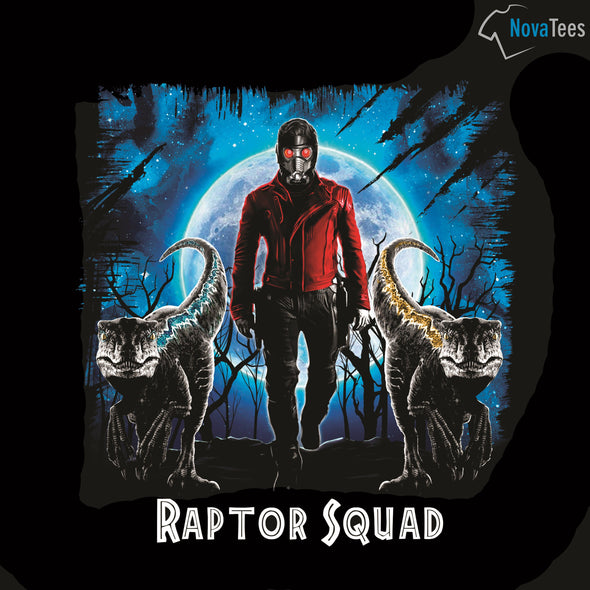 Original art in the likeness of Star-Lord from Marvel with two raptors in front of him with a black background