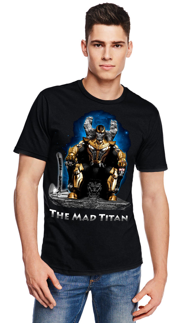 A man wearing a black t-shirt with a image in the likeness of Thanos from Marvel sitting on a throne