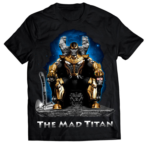 A black t-shirt with an image in the likeness of Thanos from Marvel sitting on a throne