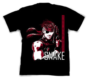 A man wearing a black t-shirt with image in the likeness of Snake from Metal Gear Solid