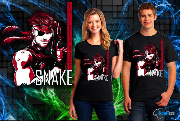 A woman and man wearing a black t-shirt with art inspired by Snake from Metal Gear Solid