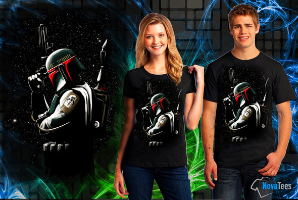 Woman and man wearing a black t-shirt with inspired image of Boba Fett