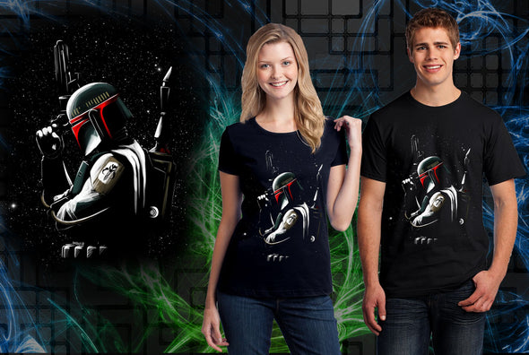 A woman and man wearing a black t-shirt with art inspired by Boba Fett from Star Wars