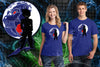 A woman and man wearing a blue t-shirt with art inspired by Dragon Ball Z with Goku standing in front of a moon with and ape face on it