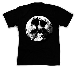 A black t-shirt with an image in the likeness of Goku, Vegeta, and Gohan from Dragon Ball Z with the moon as the background