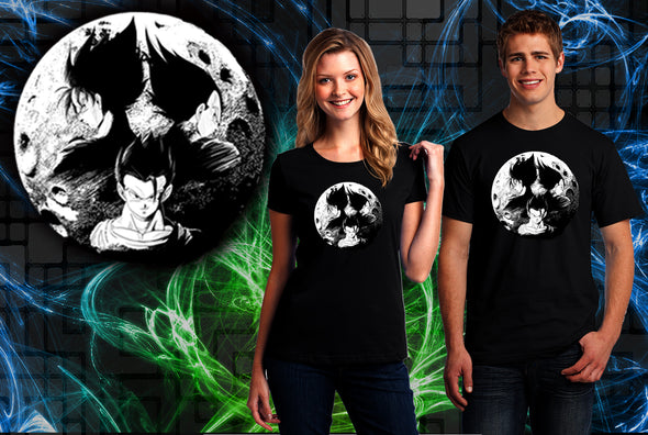 A woman and man wearing a black t-shirt with art inspired by Goku, Vegeta, and Gohan from Dragon Ball Z with a Moon in the background