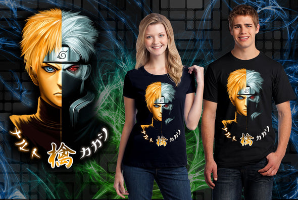 A woman and man wearing a black t-shirt with art inspired by Naruto, Split face of Naruto and Kakashi