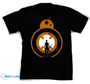 A black t-shirt with an image in the likeness of Rey and BB8 from Star Wars,