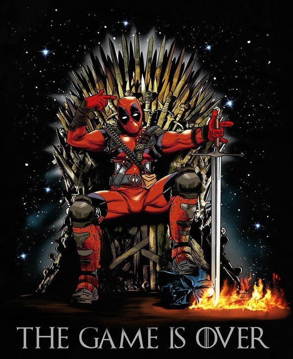 Original image in the likeness of Deadpool sitting on a thrown stepping on a helmet with black background