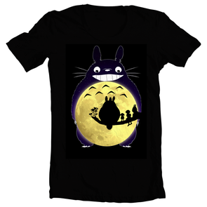 A black t-shirt with an image in the likeness of Totoro from My Neighbor Totoro with a moon as Totoro's belly