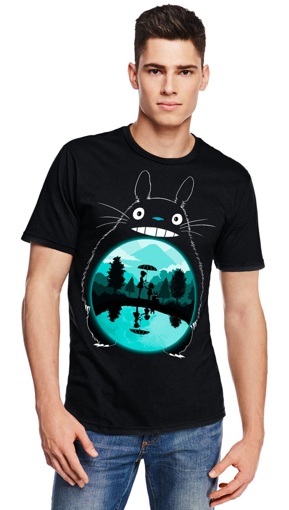A man wearing a black t-shirt with image in the likeness of Totoro from My Neighbor Totoro