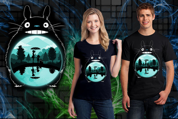 A woman and man wearing a black t-shirt with art inspired by Totoro from My Neighbor Totoro