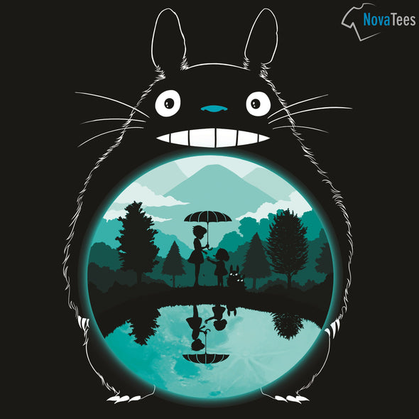 Original art in the likeness of a Totoro from My Neighbor Totoro with a black background