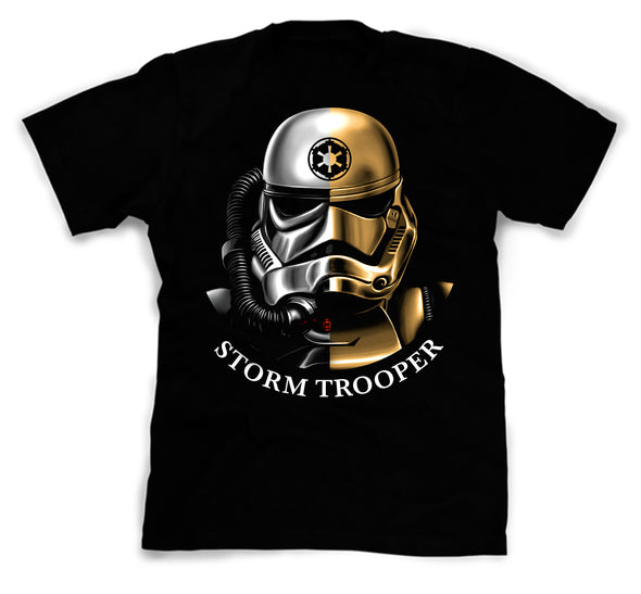 A black t-shirt with an image in the likeness of a Storm Trooper from Star Wars