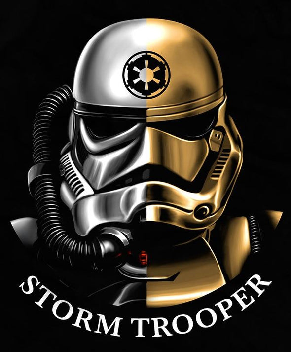 Original art in the likeness of a Storm Trooper from Star Wars with black background