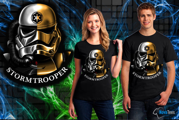 A woman and man wearing a black t-shirt with art inspired by Star Wars, Storm Trooper Split Face