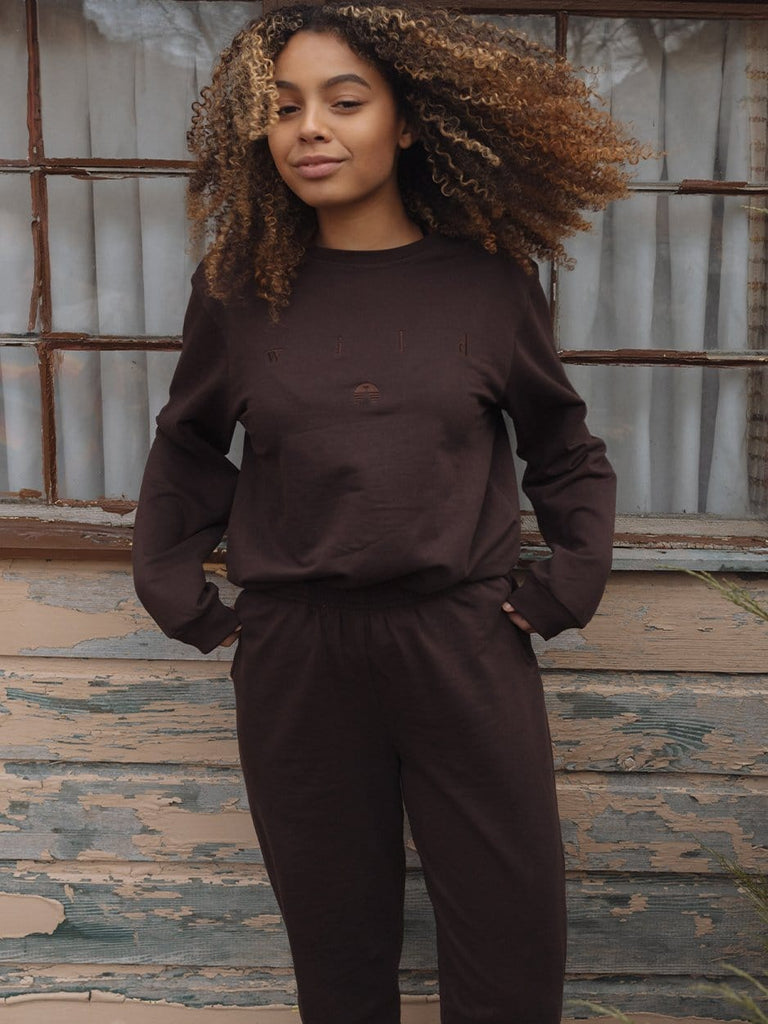 Indy Brand SWEATSHIRT BROWN COLOR SET TOP