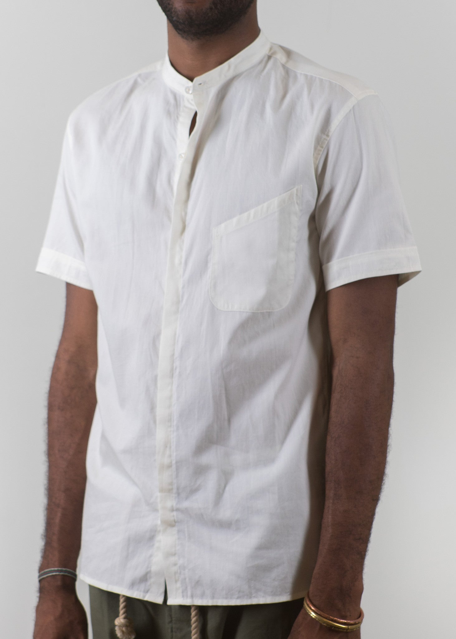 SS Grandad-Collar Shirt - Ecru - New Union Clothing