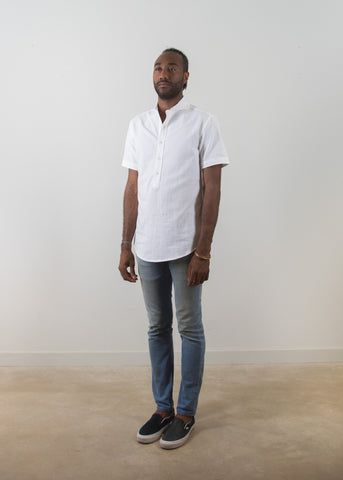 SS Cutaway Collar Popover Shirt - White - New Union Clothing