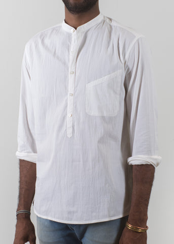Grandad-Collar Popover Shirt - Off White - New Union Clothing