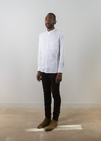 Grandad-Collar Popover Shirt - Off White