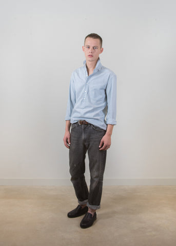 Grandad-Collar Popover Shirt - Chambray