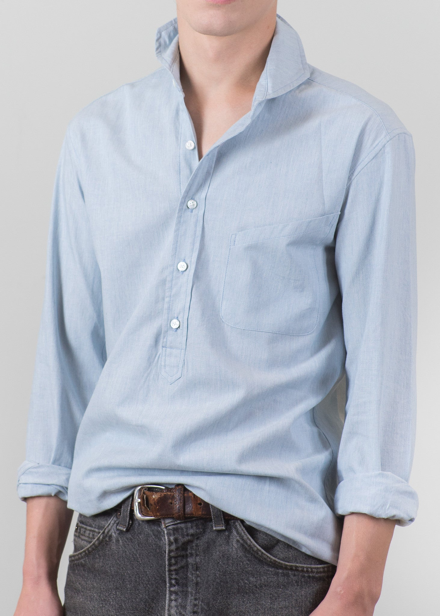 Cutaway Collar Popover Shirt - Light Chambray - New Union Clothing