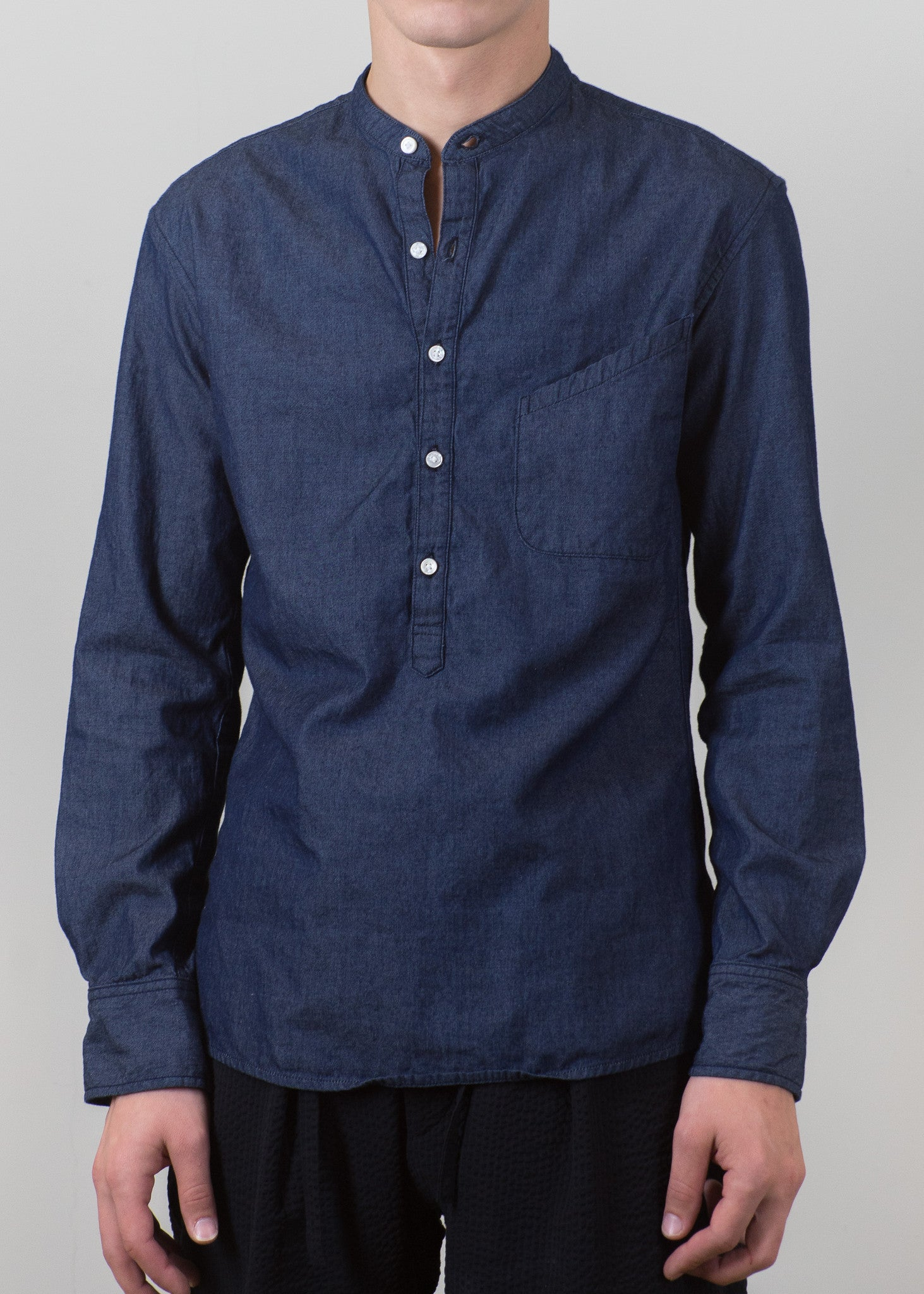Grandad-Collar Popover Shirt - Chambray - New Union Clothing