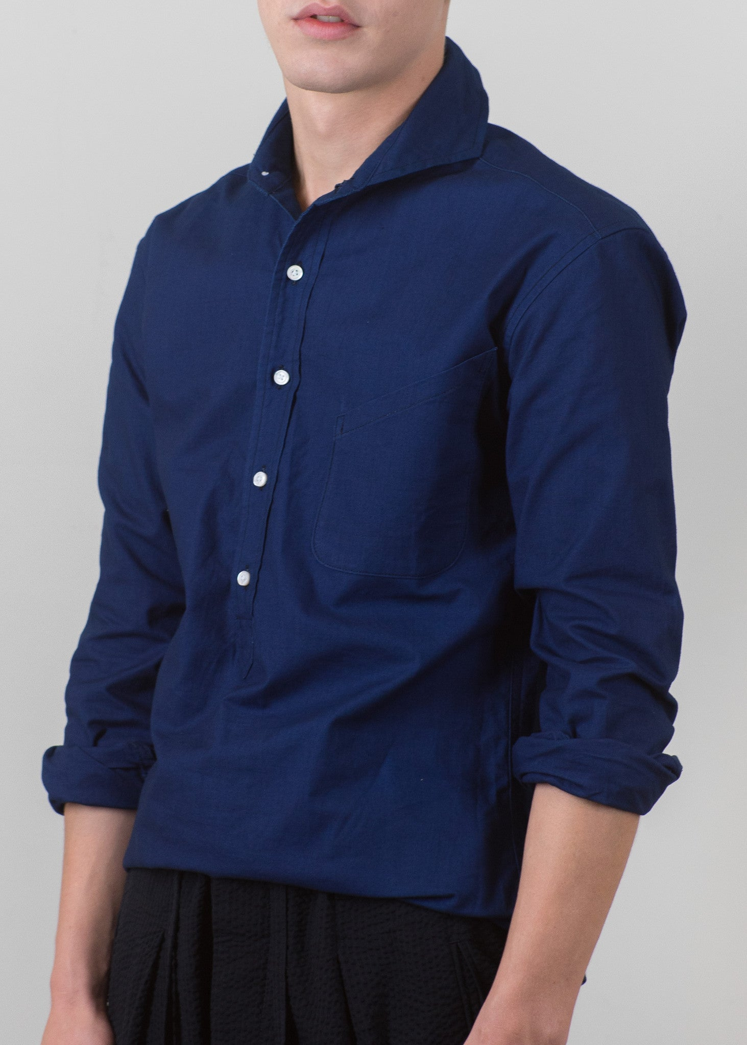 Cutaway Collar Popover Shirt - Indigo - New Union Clothing