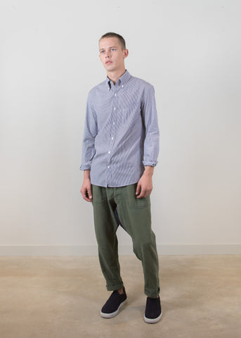 Grandad-Collar Shirt - Grey Pinstripes