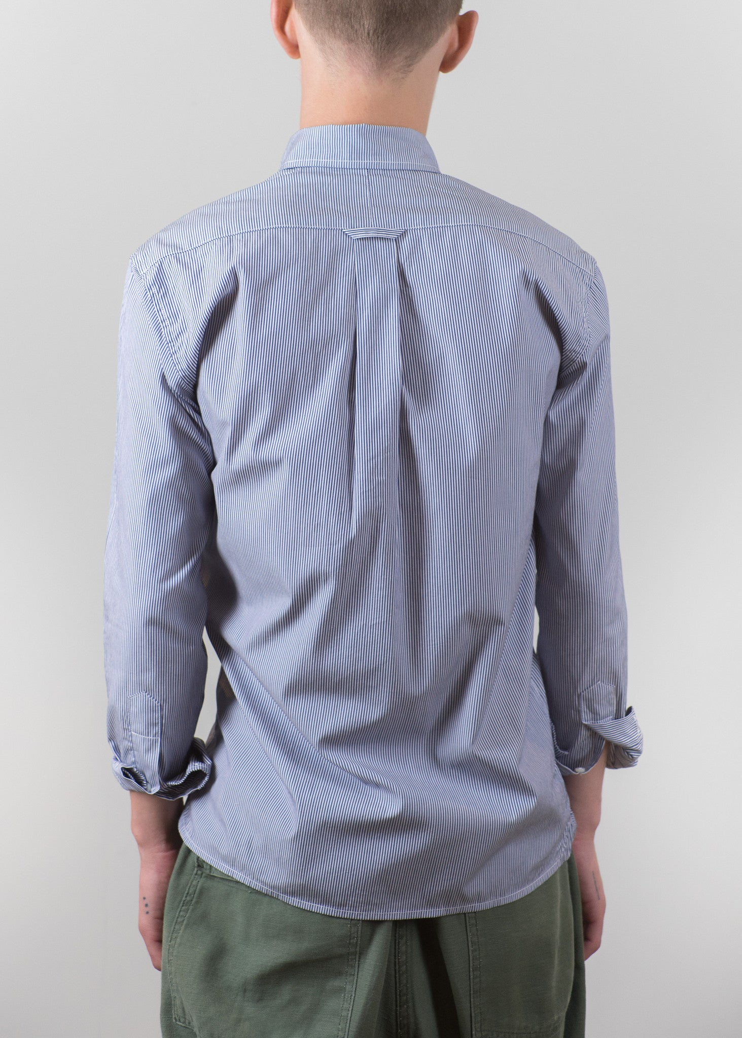 Button Down Collar Shirt - Navy Bengal Stripes - New Union Clothing