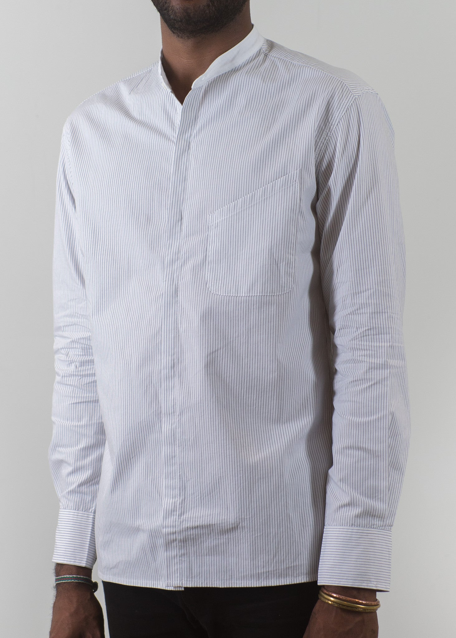 Grandad-Collar Shirt - Grey Pinstripes - New Union Clothing