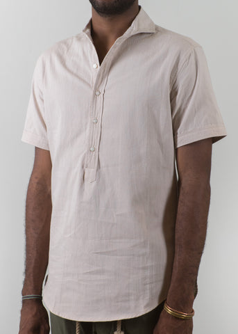 SS Cutaway Collar Popover Shirt - Sand - New Union Clothing