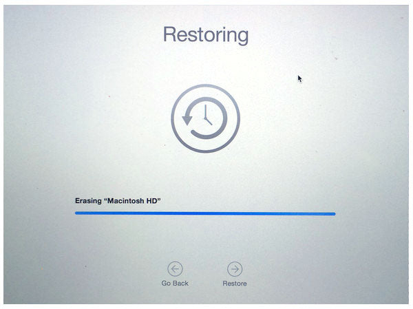 Time Machine Restoring erasing Macintosh HD