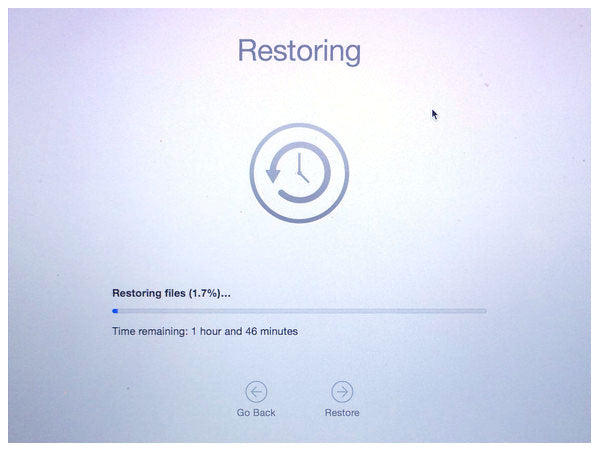 Time Machine restoring files