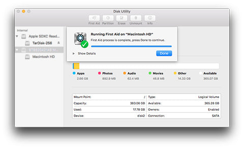 Mac OS X Disk Utility First Aid Successful
