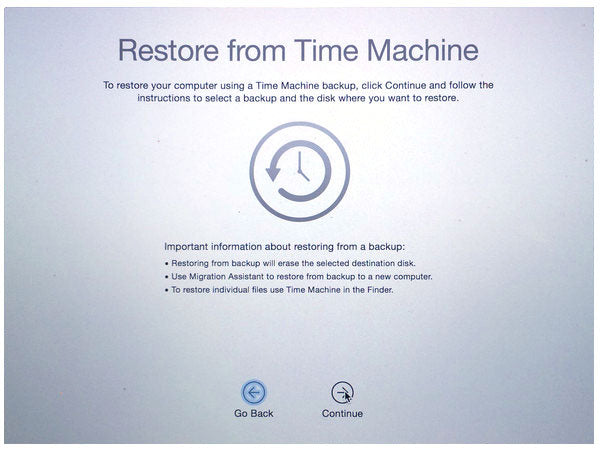 Restore from Time Machine OS X