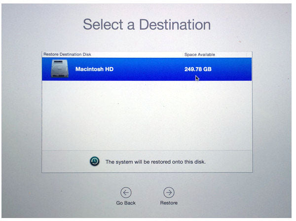 Select Destination disk for Time Machine Restore