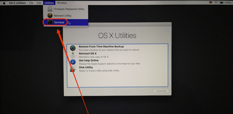how to select Terminal from os x utilities window