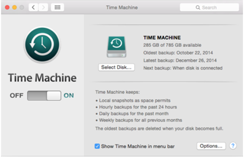 Mac OS X Time Machine Preferences Window
