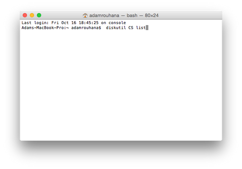 Logical Volume Group in OS X Terminal