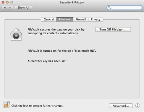 FileVault Mac OS X Preferences Window