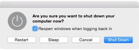 Mac OS X shut down dialogue