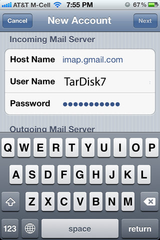 TarDisk Send Mail As Iphone Alias